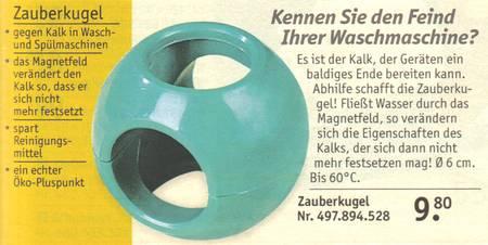 zauberkugel gegen kalk in wasch und sp lmaschinen das magnetfeld ver ndert den kalk so. Black Bedroom Furniture Sets. Home Design Ideas