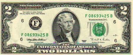 Zwei Dollar mit dem Bild von Thomas Jefferson