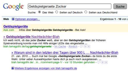 An erster Stelle bei Google mit dem suchbegriff Geldspielgeräte zocker ist zurzeit das Blahblog