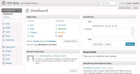 Das Dashboard von WordPress 3.0