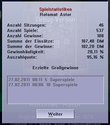Screenshot der neuen Statistiken zu einem Geldspielgerät in der Virtuellen Zockhalle
