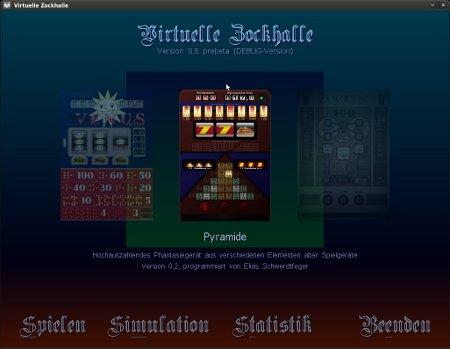 Screenshot der Benutzerschnittstelle der Virtuellen Zockhalle