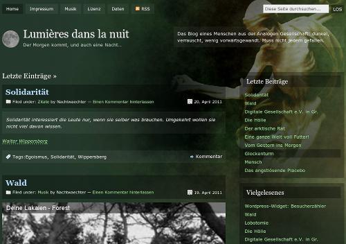 Screenshot des neuen Blogdesigns von Lumières dans la nuit