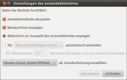Screenshot 'Einstellungen des Anmeldebildschirms'