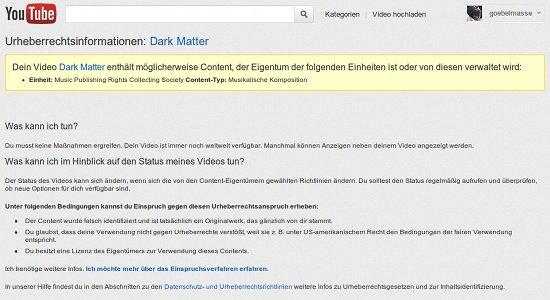 Dein Video Dark Matter enthält möglicherweise Content, der Eigentum der folgenden Einheiten ist oder von diesen verwaltet wird: Music Publishing Rights Collecting Society