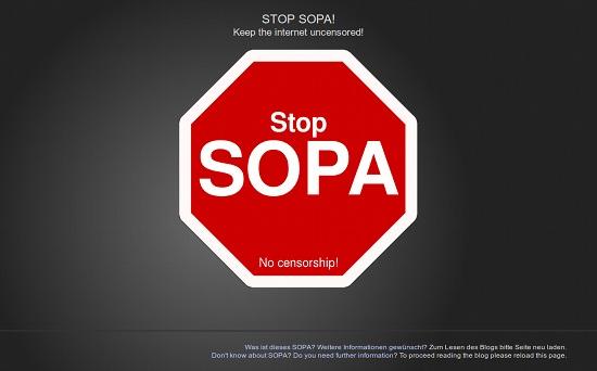 Screenshot der Protestseite gegen SOPA