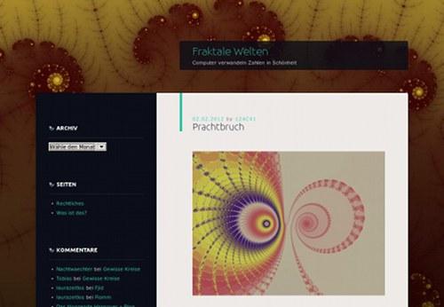Screenshot des neuen Designs der Fraktalen Welten