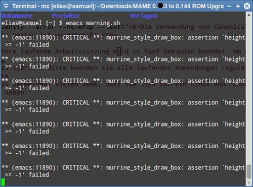Screenshot eines Terminal-Fensters unter Ubuntu Precise mit massenhaften Emacs-Warnungen