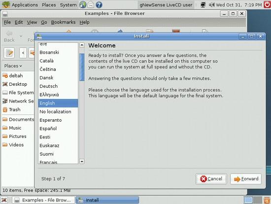 Screenshot: gNewSense-Installation aus dem Live-System heraus gestartet