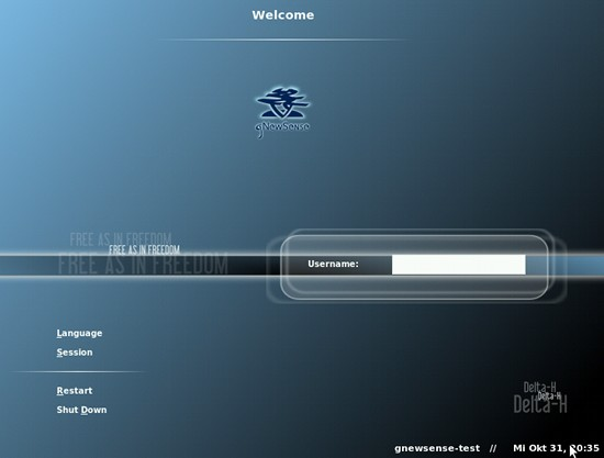 Screenshot: Login-Bildschirm von gNewSense