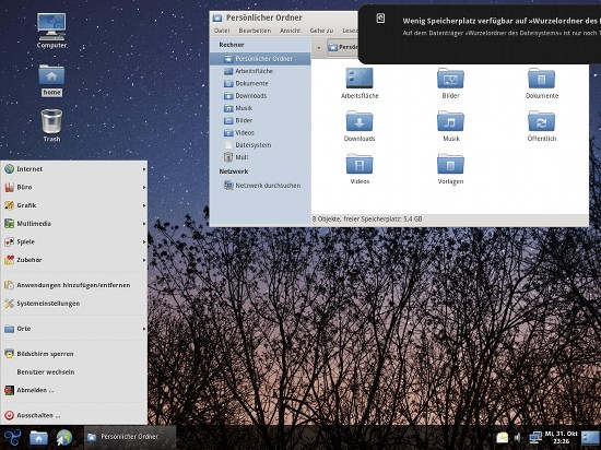 Screenshot: Der Gnome-Desktop von Trisquel