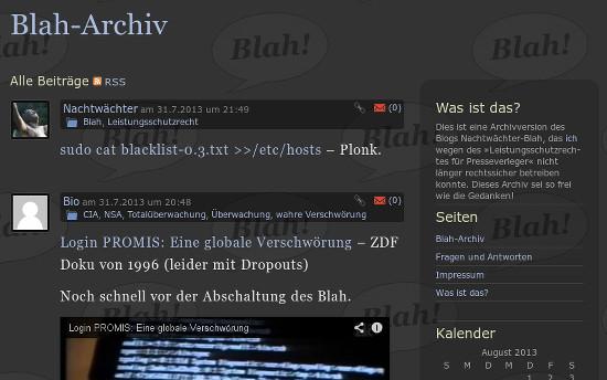 Screenshot der Startseite des archivierten Blogs Nachtwächter-Blah