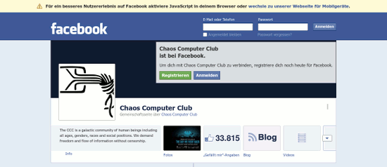 Screenshot des Facebook-Profiles des Chaos Computer Clubs