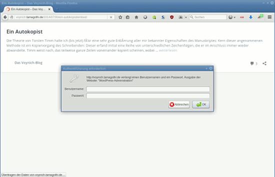 Eine Darstellung der eingebetteten Ansicht im Browserfenster mit einem Blogartikel, überlagert von einer Eingabeaufforderung für Benutzername und Passwort