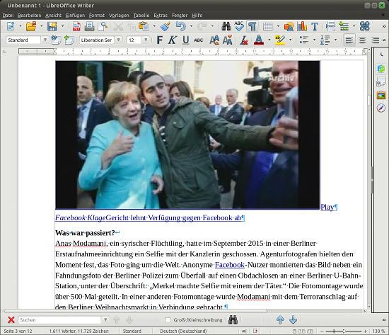 Screenshot LibreOffice Writer 5.0 mit der vom Handelsblatt blockierten Meldung im vollen Layout im Fenster