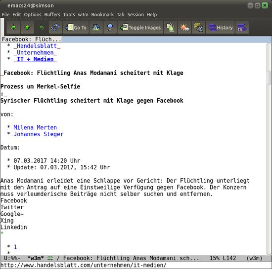 Screenshot Emacs mit der vom Handelsblatt blockierten Meldung im Fenster