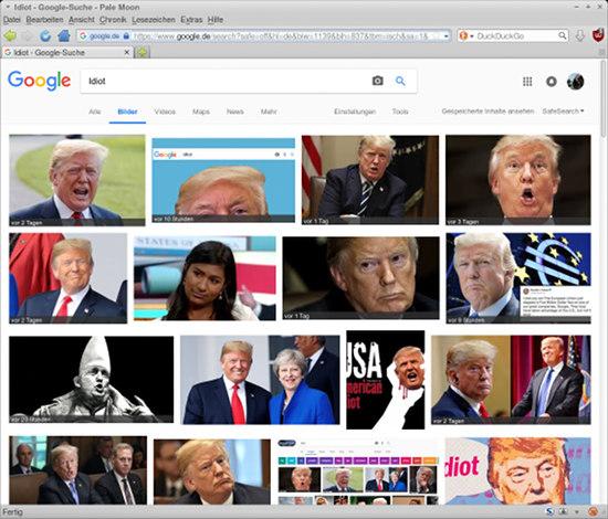 Screenshot einer Google-Bildsuche nach Idiot: Überwiegend Fotos von Donald Trump.