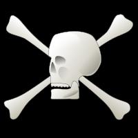 Clipart eines Totenkopfes mit gekreuzten Knochen