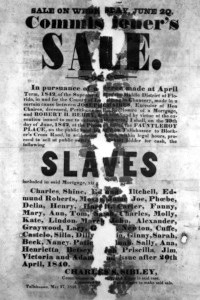 Englischsprachiges Plakat aus dem 19. Jahrhundert: Sklavenverkauf