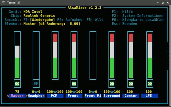 Screenshot eines Terminals, in dem alsamixer ausgeführt wird