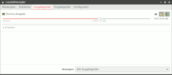 Screenshot des Xfce-Mixers eines XUbuntu: Die Soundkarte wird nicht angezeigt. Die Soundausgabe läuft über ein Dummy-Device.