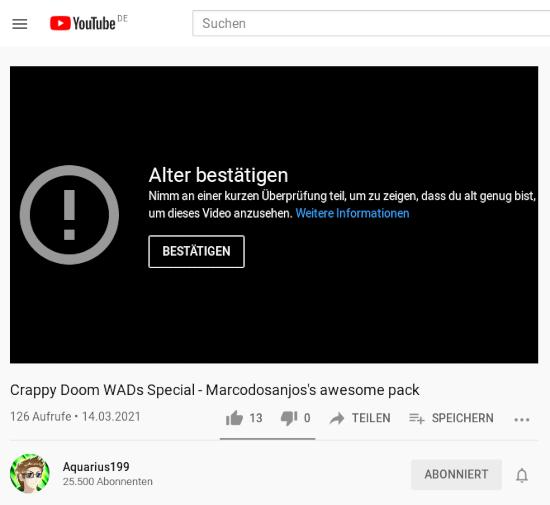 Screenshot von YouTube: Alter bestätigen -- Nimm an einer kurzen Überprüfung teil, um zu zeigen, dass du alt genug bist, um dieses Video anzusehen. Weitere Informationen -- [BESTÄTIGEN]