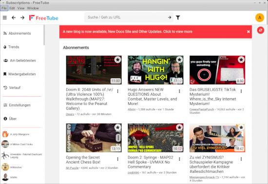 Screenshot von FreeTube mit der Anzeige meiner Abos