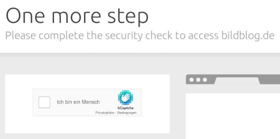 Captcha-Bildschirm -- One more step -- Please complete the security check to access bildblog.de -- Ankreuzkästchen 'Ich bin ein Mensch' -- Reklame für hCaptcha -- Sinnlose Dekoration mit einem abstrakt gezeichneten leeren Browserfenster, die da nur hingemacht wurde, damit die eigentlichen Captcha-Test aus vorsätzlich klein und damit behindertenaussperrend bleiben können